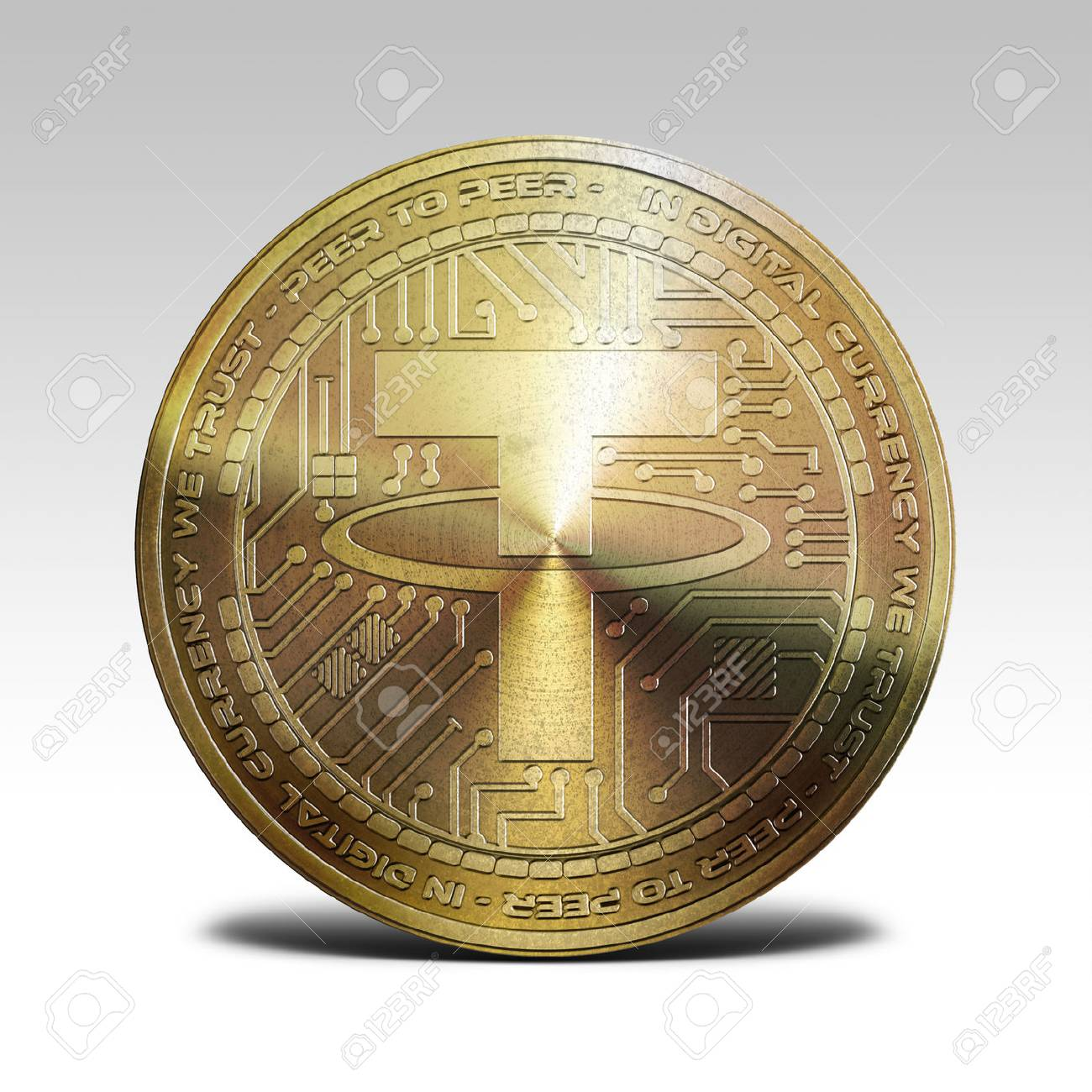 81785255 golden tether coin isolated on white background 3d rendering - تتر (USDT) چیست ؟