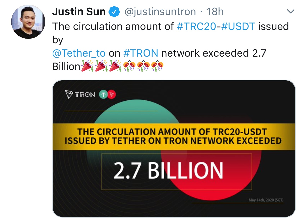 6564EB3D 4D70 455E BA74 8211737E680E - افزایش حجم کوین های قیمت ثابت (USDT) منتشر شده بر روی شبکه ترون!