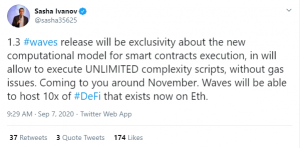 Annotation 2020 09 07 133221 300x148 - بنیانگذار ارز Waves در توییتر: Waves می تواند تا 10 برابر اتریوم میزبان پروژه های DeFi باشد!