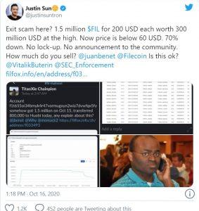 Sun twitter 283x300 - جاستین سان: Filecoin یک پروژه ی کلاهبرداری است!