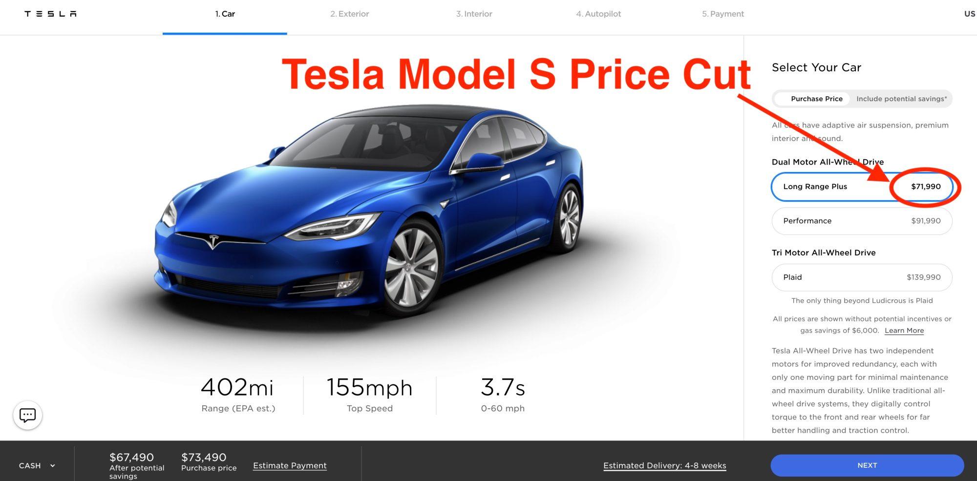Tesla model S price cut - قیمت Tesla S برای دومین بار در این هفته کاهش یافت