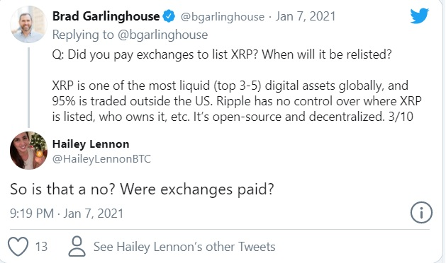 "Grarling house - مدیر عامل ریپل: ""سعی کردیم با SEC به توافق برسیم"""