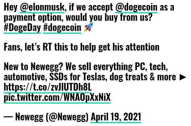توئیت - کمپانی Newegg دوج کوین را به گزینه های پرداخت خود افزود