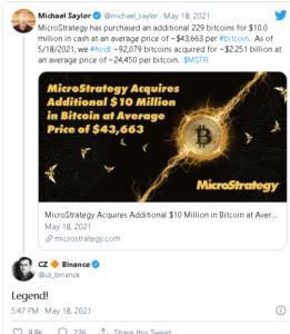 screenshot coinquora.com 2021.05.18 20 41 57 261x300 - مدیر عامل صرافی بایننس از شرکت مایکرواستراتژی به علت خریداری اخیر بیت کوین، تقدیر کرد