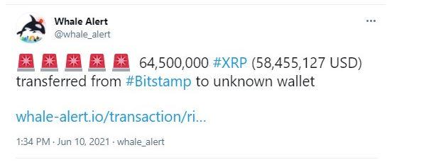 Whale Alert - انتقال 270 میلیون XRP ، توسط صرافی های برتر رمزارز!