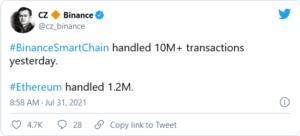 Screenshot 2021 07 31 at 21 02 56 Will Binance Smart Chain Be Able to Handle 20 Million Transactions Daily CZ Answers 300x136 - آیا بلاکچین بایننس اسمارت چین میتواند روزانه 20 میلیون تراکنش را پردازش کند؟ ژئو پاسخ می دهد