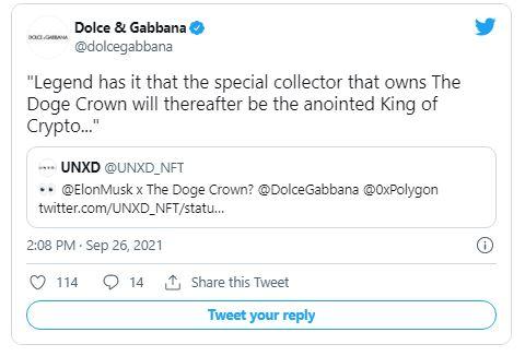 "Dolce - انتخاب ایلان ماسک به عنوان ""پادشاه رمزنگاری"" ، توسط دولچه و گابانا!"